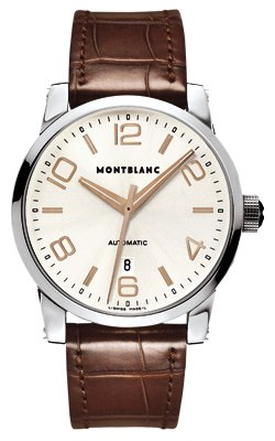 Montblanc Timewalker Automatic Silver Dial Brown Leather Mens Watch 101550