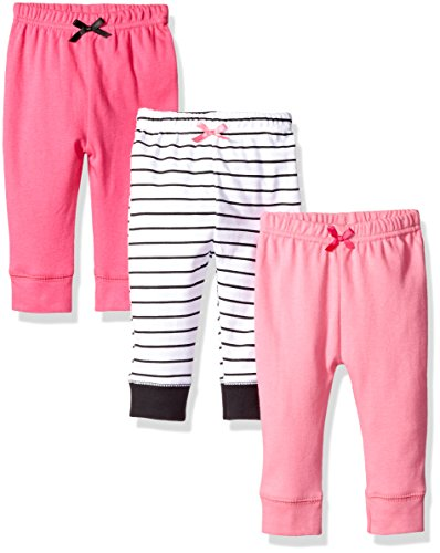 Luvable Friends Girls' 3 Pack Tapered Ankle Pant, Girl Black Stripe, 9-12 Months