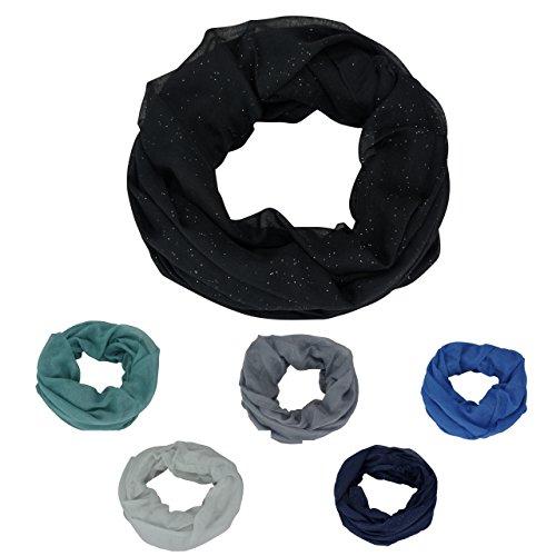 Damen-Schal-Schlauchschal-Loopschal-Glitzer-Rundschal-Tuch-Viele-Farben