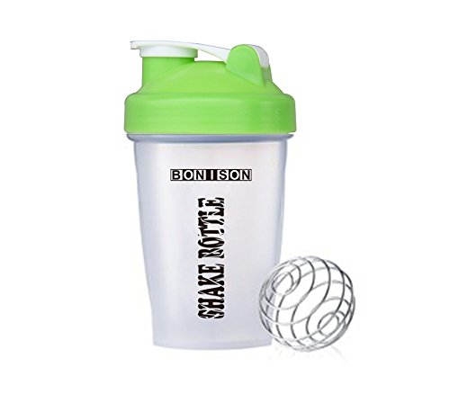 Mix Whip Blend & Shake Clear Classic Colored Screw Top Shaker Bottle Wire Whisk Sport Mixer Smoothie Protein Weight Loss Shakes & Powders(14oz Green) (Mixing Sports Bottle compare prices)