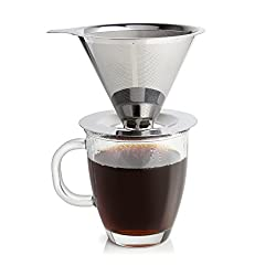 Ruzels Stainless Steel Coffee Dripper - Non Electric Single Serve Coffee Brewer - Reusable Double Layer Micro Mesh Filter - Portable made by Ruzels