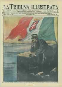Il Re d'Italia sul campanile bombardato di Monfalcone