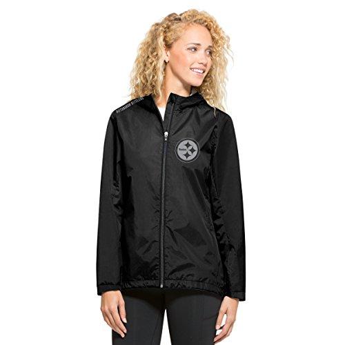NFL Pittsburgh Steelers Women's '47 React Full Zip Hooded Jacket, Small, Jet Black