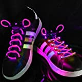 Pink LED Light Up Flashing Shoelaces + Extra Batteries