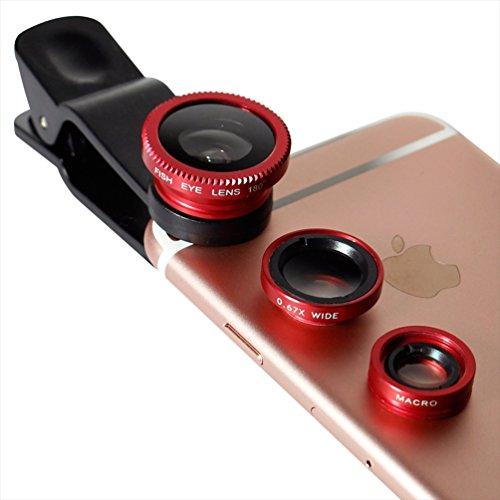 オウルテック iPhone各種スマートフォン対応 クリップ型カメラレンズセット (マクロ・魚眼・ワイド) レッド 収納袋付 OWL-MALENS01-RE