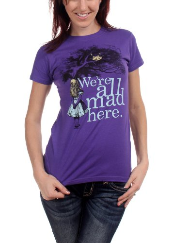 Juniors T-Shirt -Alice in Wonderland - We're all Mad Here