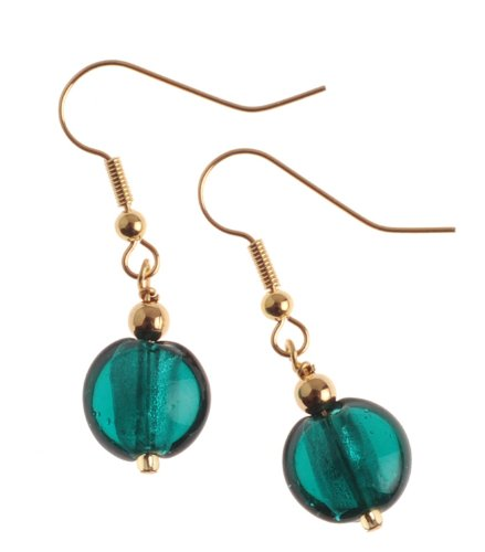 The Jewellery Factory Gold Plated Teal Murano Style Single Drop Bead Earrings