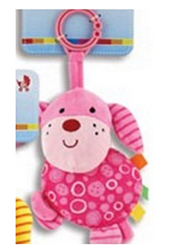 Puppy Plush Rattles Blue, Pink Or Green (Pink)/Baby Shower/Crib Toy/Plush/Rattle - 1