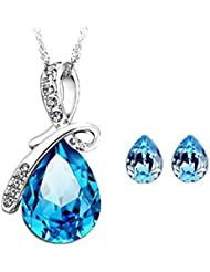 Shining Diva Platinum Plated Blue Crystal Earrings & Pendant Necklace Combo Jewellery Set