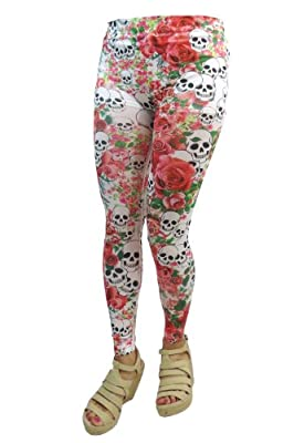 Rockabilly Gothic Skull and Rose Punk Out Leggings