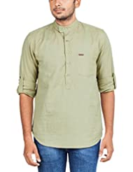 Zovi Men's Cotton Linen Regular Fit Khaki Solid Linen Casual Shirt - Full Sleeves With Roll-up (10606306501)