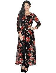 Yogalz Women Red::Black Color Georgette Kuri Ladies Casual Wear Party Wear Kurta