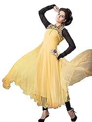Nirali Women's Net Salwar Kameez Semistitched Dress Material - Free Size (Yellow)