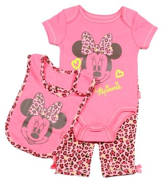 Minnie Mouse Baby Girls Pink Leopard Clothing