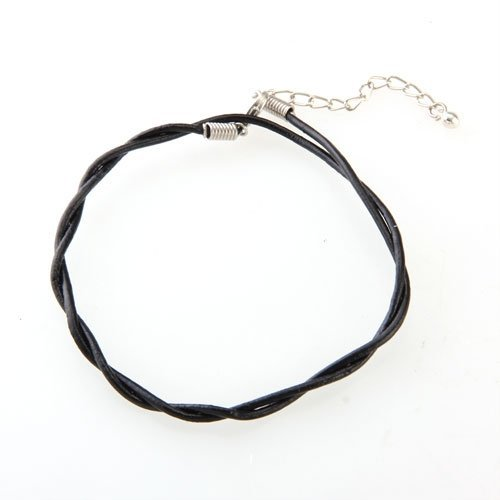 TOOGOO(R) Adjustable Black Leather Anklet Chain