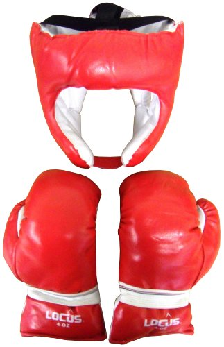 Locus Boxing Gloves & Head guard Red For Kids (Gloves 4-oz)