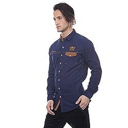 Apris Mens F/slv Corduary Shirt-NAVY (S-3247) (L)