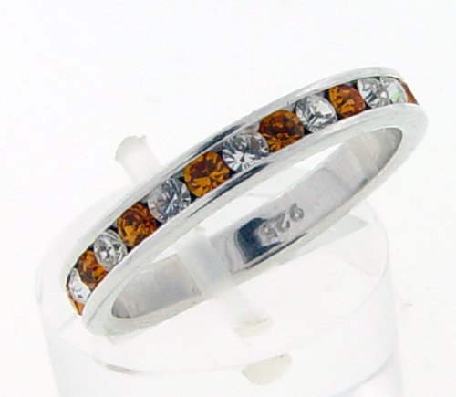 Eternity Cubic Zirconia Clear and Citrine Orange Sterling Silver Ring