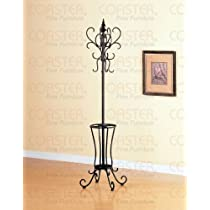Black Metal Classic Coat Rack & Hat Stand With Umbrella Holder