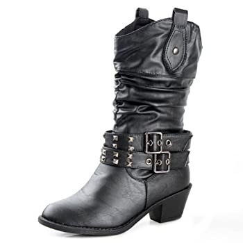 Whether you are in the Deep South or in a big metropolitan, these western style boots will spur attention for their edgy details. These mid-calf height boots are a fresh new take on a classic cowboy style, boasting silver pyramid stud embellishments ...