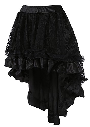 COSWE-WOMENS-Solid-Color-Lace-Asymmetrical-High-Low-Corset-Skirt