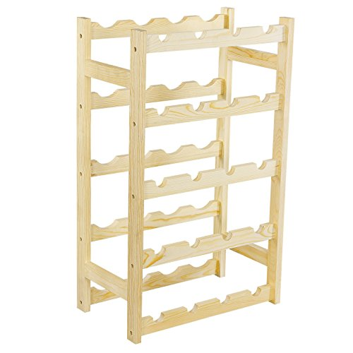 SONGMICS Wood 20-Bottle Wine Display Rack Free Standing Bottles Storage Shelf, Natural ULWR20N (Large Wine Bottle Rack compare prices)