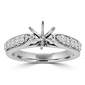 0.70 ct Round Cut Diamond Semi Mount Engagement Ring Whit Millgrain on The Shank in Platinum In Size 5