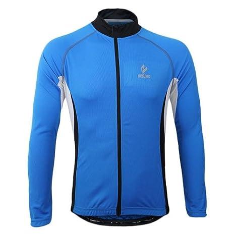 Arsuxeo 60028 Soleil Mâle Protecteur Vélo Maillot À Manches Longues Sport Cycliste Extérieure Fonctionne-Vêtements (Bleu)