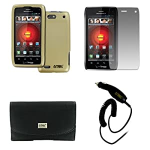 EMPIRE Motorola DROID 4 XT894 Black Leather Case Pouch with Belt Clip and Belt Loops + Rubberized Snap-On Cover Case (Gold) + Screen Protector + Car Charger (CLA) [EMPIRE Packaging]