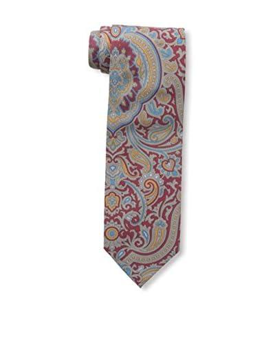 Rossovivo Men's Paisley Tie, Red/Mustard