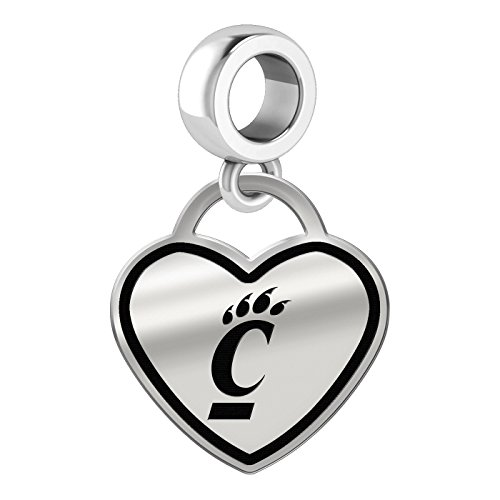 Cincinnati Bearcats Border Heart Dangle Charm Fits All Beaded Charm Bracelets