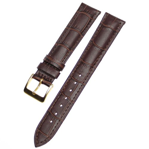 Ritche Generic 18mm Alligator Grain Leather Watch Band Strap Gold Buckle Color Brown