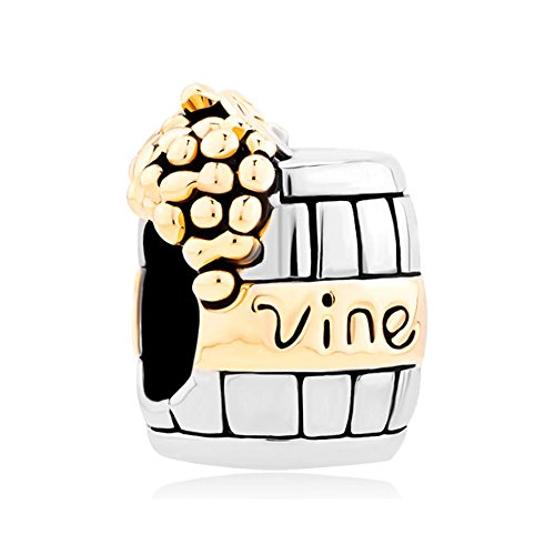 Charmed Craft Gold Plated Vine Grape Wine Cask Charms Beads Fit Pandora Compatible Charms Bracelets (Wine Grape Charms compare prices)