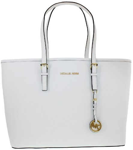 ada76ba1c908 Michael Kors Jet Set Optic White Medium Leather Travel Tote 30S3GTVT6L NEW