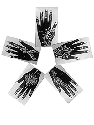 Henna Stencils AS SEEN IN VOGUE PACK OF 5 Tattoo Mehndi Reusable Stickers Left Hand (View amazon detail page)