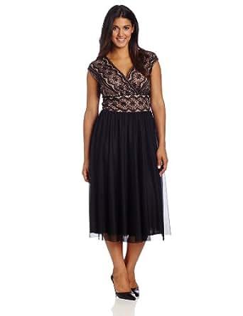 Jessica Howard Women's Plus-Size Sleeveless Surplus Bodice Dress, Black, 16W