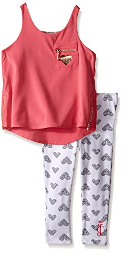 Juicy Couture Big Girls' Poly Chiffon Top with Stretch Jersey Pants, Peach, 5