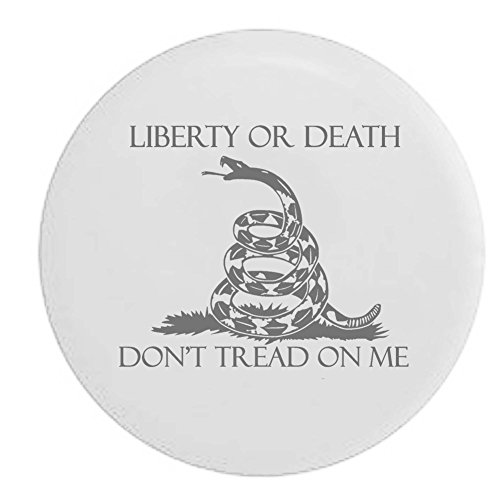 Pike Liberty or Death Don't Tread On Me Gadsgen Snake US Rights Trailer RV Spare Tire Cover OEM Vinyl White 32 in (Tire Cover White compare prices)