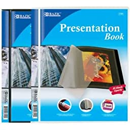 Bazic 10-Pockets Presentation Book (24 Pieces) - Bazic 10-Pockets Presentation Book. Colors: Black And White Plastic Assortment With Clear Pages Inside Book Is Bound And Fits Standard Letter Size Pap