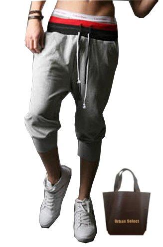 (アーバンセレクト) Urban Select スウェットパンツ クロップドパンツ メンズ スリム ハーフ スウェット 七分丈 スポーツ ストレッチ AI-395 (エコバッグセット) (XL(M相当), グレー)