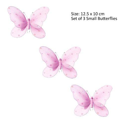 3-teilig Schmetterling für Mädchen-Kinderzimmer Dekoration zum Aufhängen, Schmetterling-Wanddeko für Geburtstag, Babyparty oder Hochzeit, Größe SMALL ROSA günstig bestellen