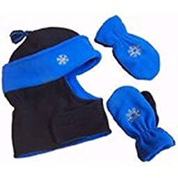 N\'ice Caps Boys Wrap Around Hat and Mitten Set with Embroidery (18-36 Months, black/royal/grey)