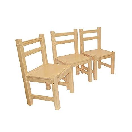 Muebles Para Niños De Pino Macizo Natural Barnizado Conjunto de 3,Tres Sillas Sin Apoyabrazos