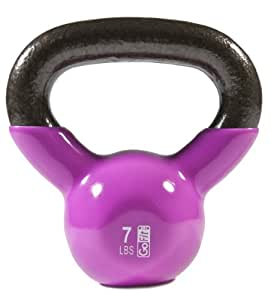GoFit Premium Vinyl Dipped Kettle Bell With Introductory Training Dvd ( Magenta, 7Lb)