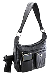 Enimay® Genuine Leather Concealed Carry Purse CCW Locked Shoulder Bag Left and Right Hand Large