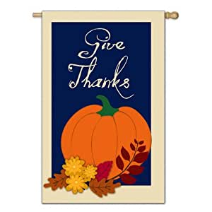 Give Thanks Applique House Flag Outdoor