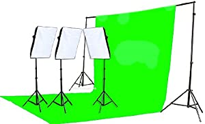 Fancierstudio 2400 Watt Chromakey Green Screen Video Lighting Kit