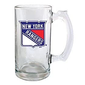 New York Rangers Beer Mug: 13oz Glass Sports Tankard