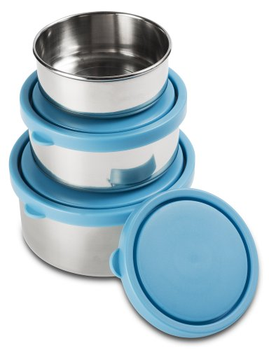 Mira Set Of 3 Stainless Steel Lunch Box And Food Storage Containers, Blue front-128404