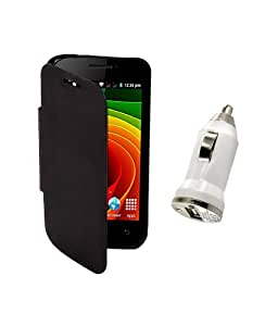 KolorEdge Flip Cover Plus Car Charger For MicroMax Bolt A35 -black